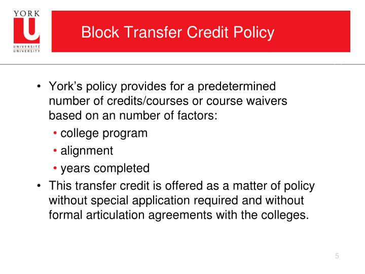 Block Transfer Credit Policy