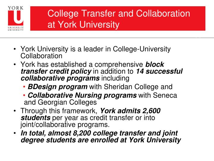 College Transfer and Collaboration at York University