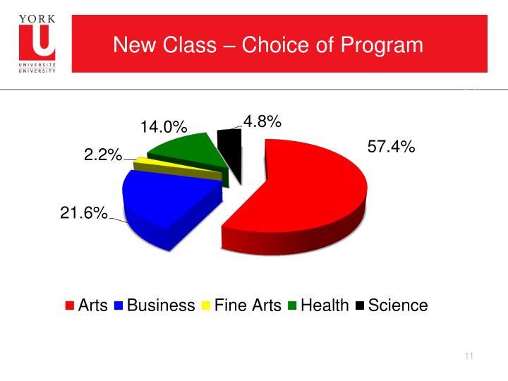 New Class – Choice of Program
