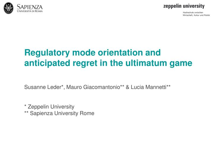 Regulatory mode orientation and