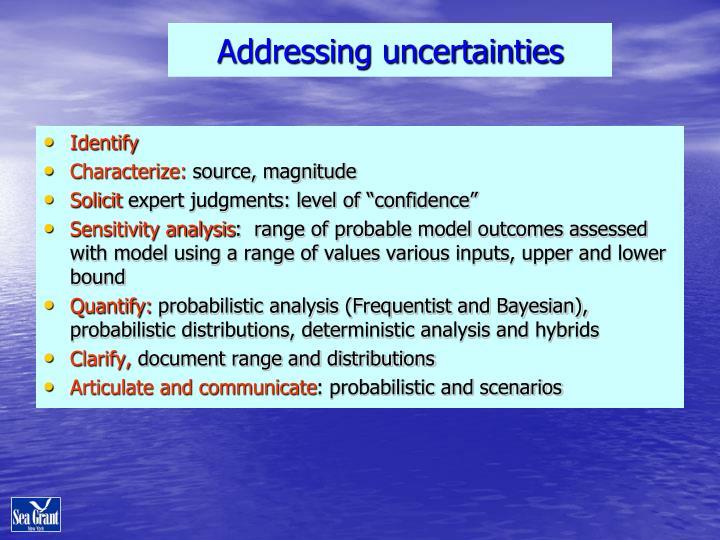 Addressing uncertainties