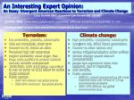 an interesting expert opinion an essay divergent american reactions to terrorism and climate change