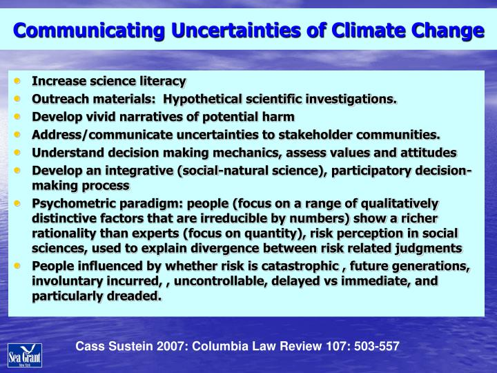 Communicating Uncertainties of Climate Change