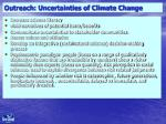 outreach uncertainties of climate change