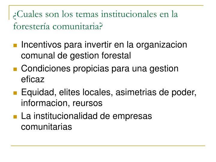 ¿Cuales son los temas institucionales en la forester
