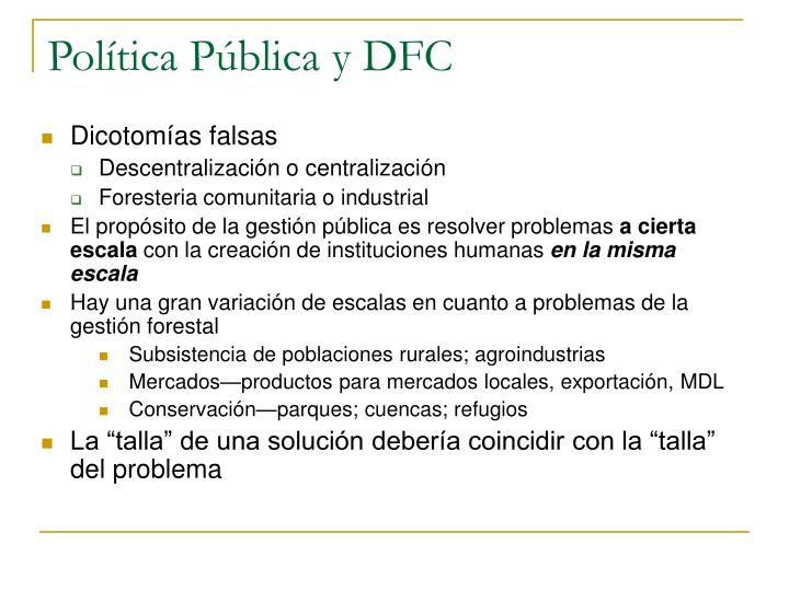 Política Pública y DFC