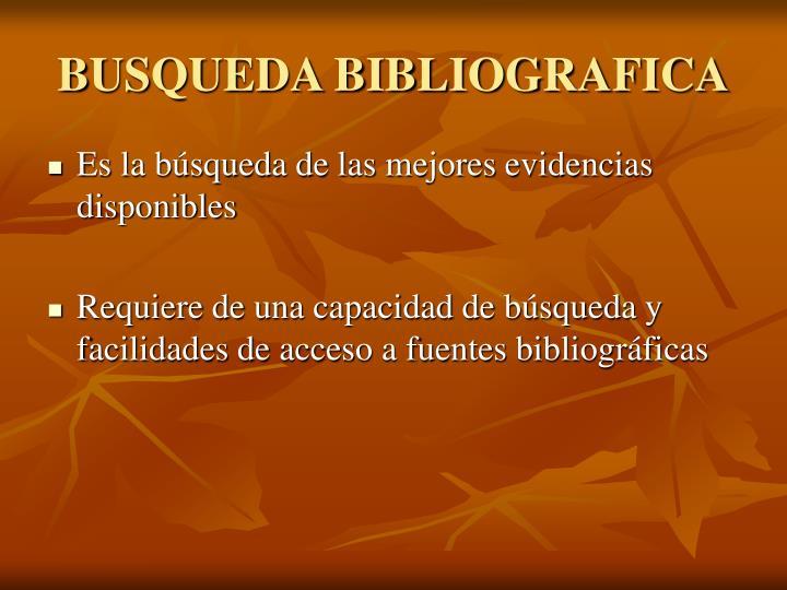 BUSQUEDA BIBLIOGRAFICA