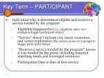 key term participant