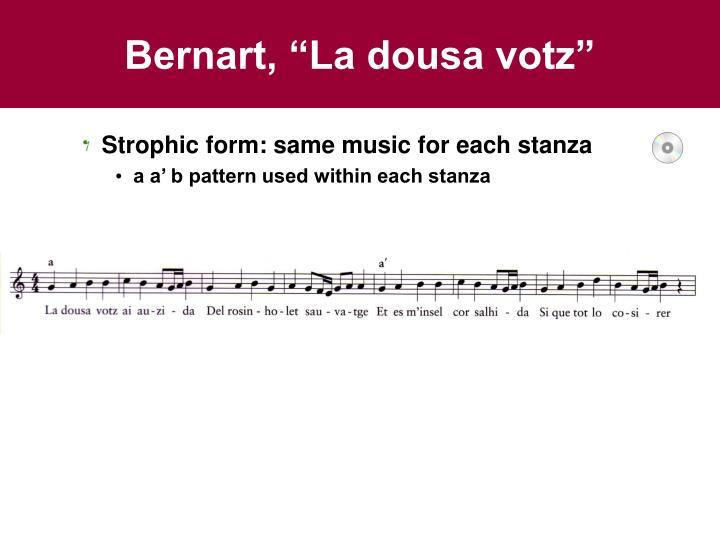 """Bernart, """"La dousa votz"""""""