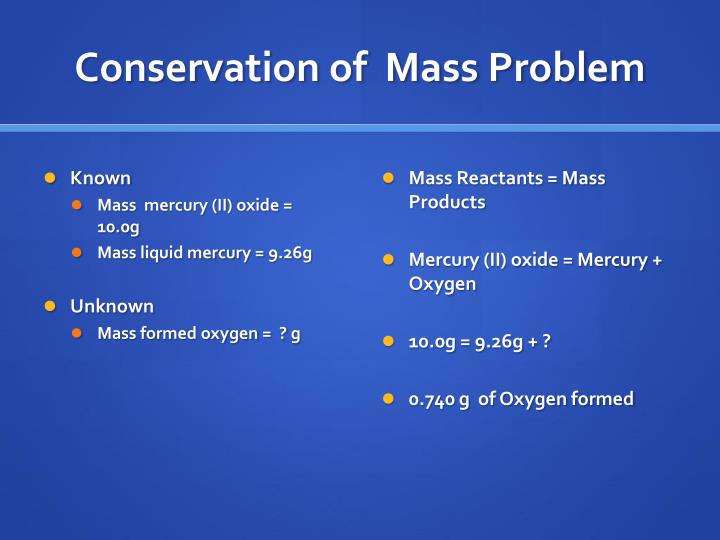 Conservation of  Mass Problem