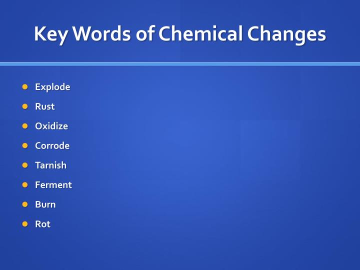 Key Words of Chemical Changes