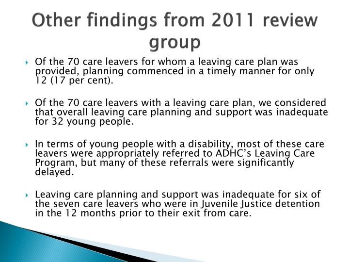 Other findings from 2011 review group