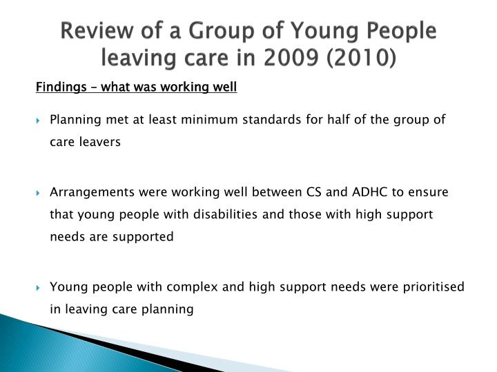 Review of a Group of Young People leaving care in 2009 (2010)