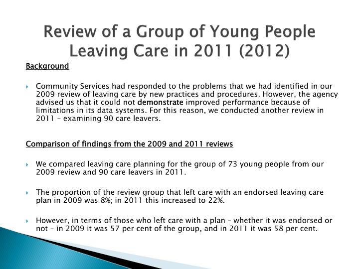 Review of a Group of Young People Leaving Care in 2011 (2012)