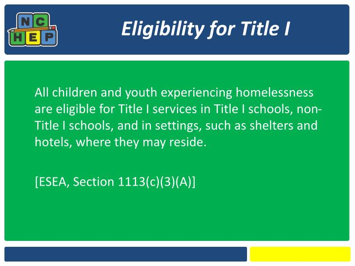 Eligibility for Title I