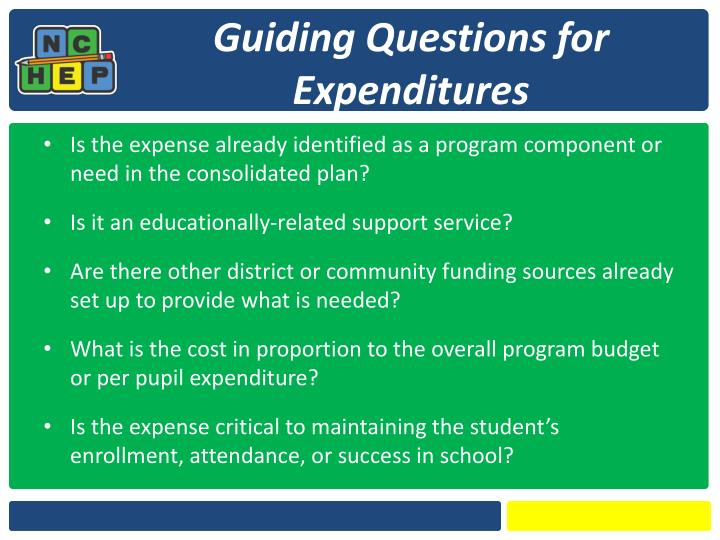 Guiding Questions for Expenditures