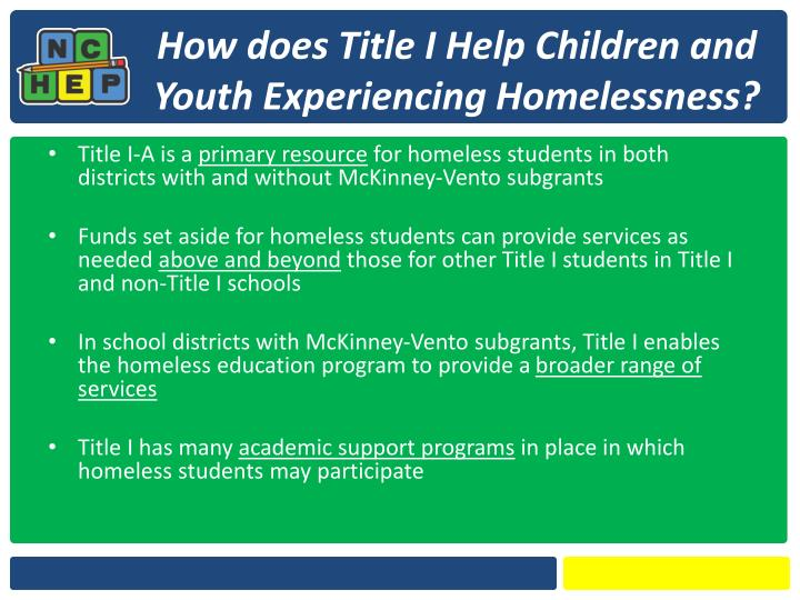 How does Title I Help Children and Youth Experiencing Homelessness?
