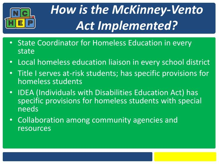 How is the McKinney-Vento Act Implemented?