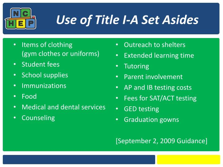 Use of Title I-A Set Asides