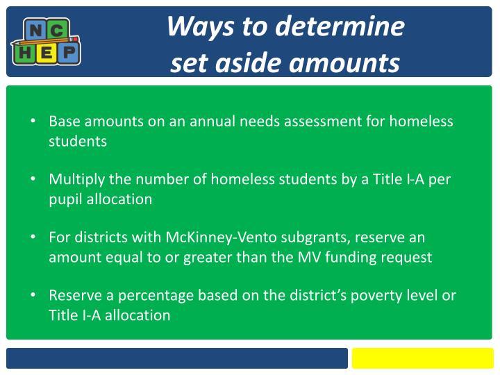 Ways to determine