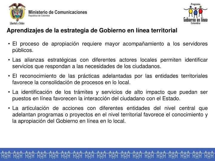 Aprendizajes de la estrategia de Gobierno en línea territorial