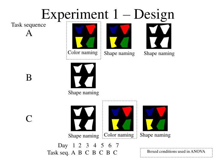 Experiment 1 – Design