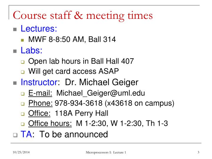 Course staff & meeting times