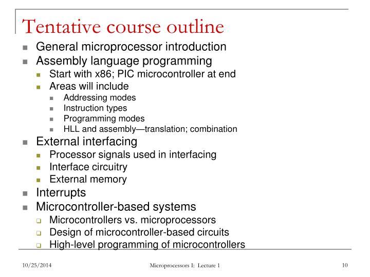 Tentative course outline