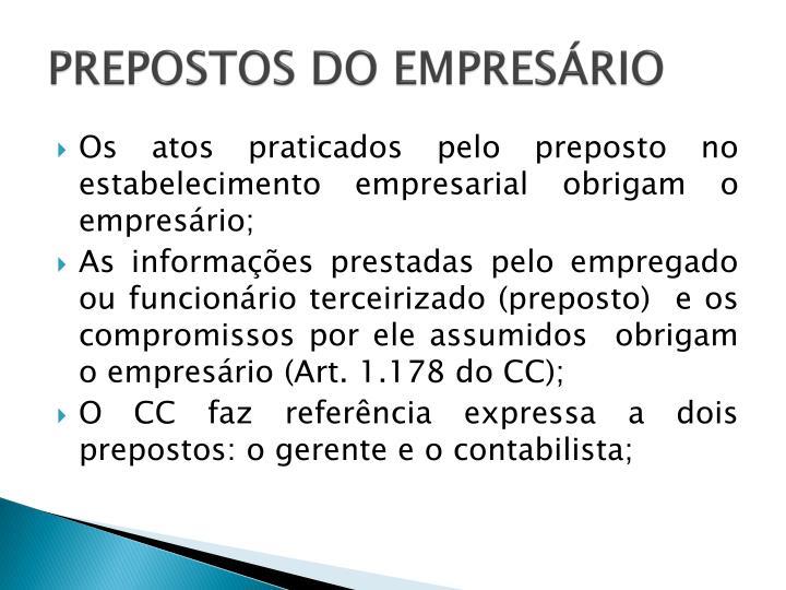 PREPOSTOS DO EMPRESÁRIO