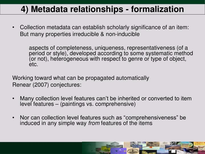 4) Metadata relationships - formalization