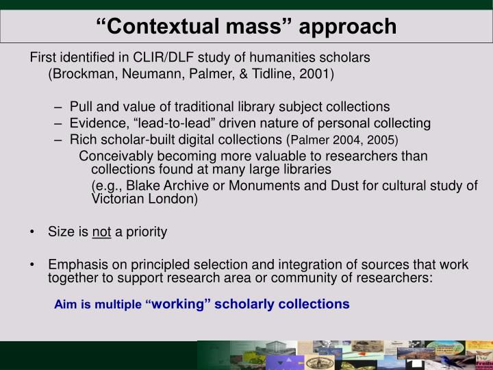 """Contextual mass"" approach"