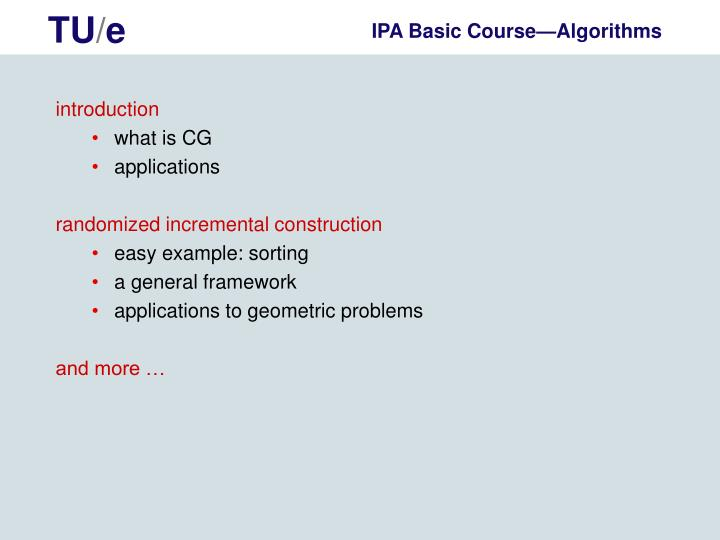 Ipa basic course algorithms