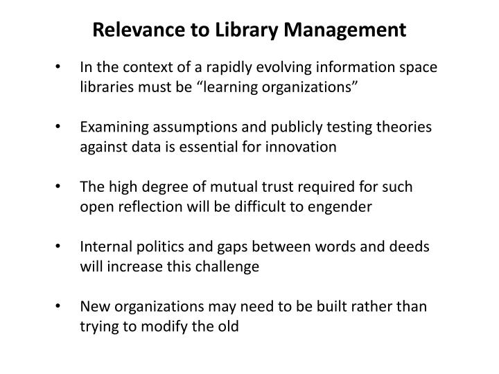 Relevance to library management