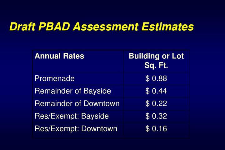 Draft PBAD Assessment Estimates