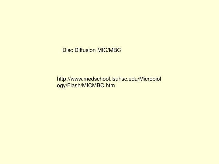 Disc Diffusion MIC/MBC