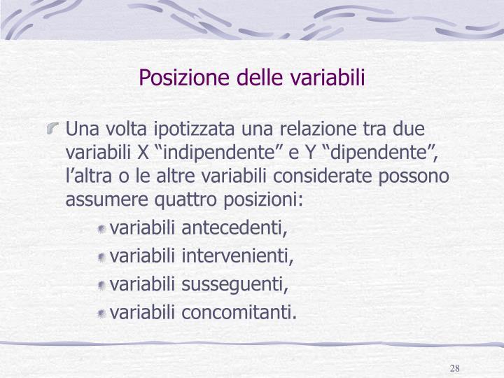 Posizione delle variabili