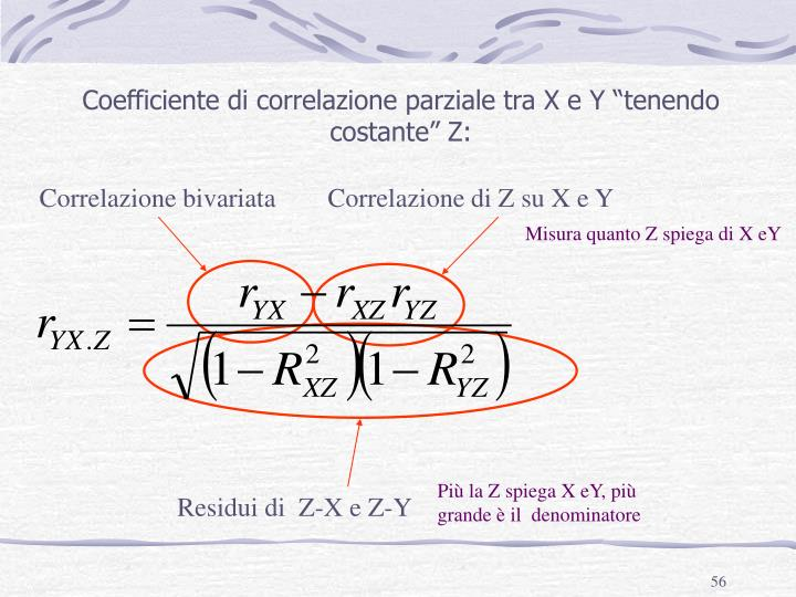 """Coefficiente di correlazione parziale tra X e Y """"tenendo costante"""" Z:"""