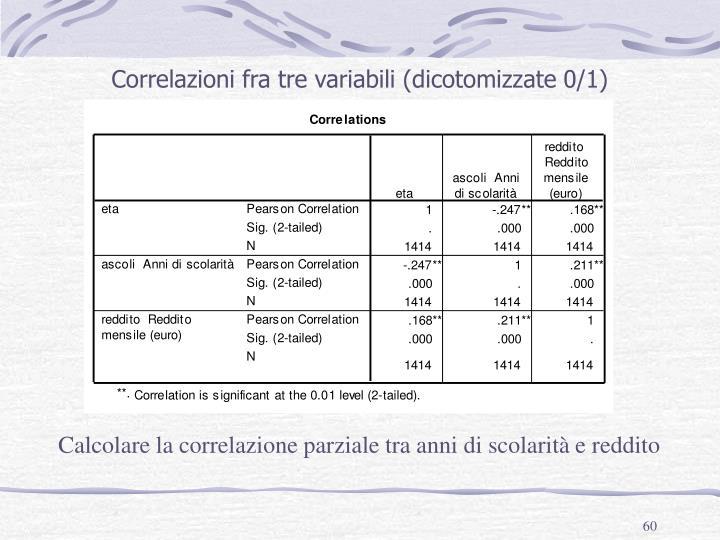 Correlazioni fra tre variabili (dicotomizzate 0/1)