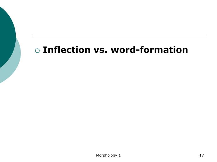 Inflection vs. word-formation
