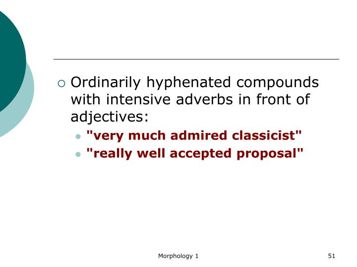 Ordinarily hyphenated compounds with intensive adverbs in front of adjectives: