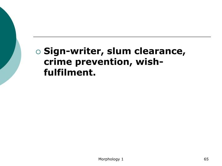 Sign-writer, slum clearance, crime prevention, wish-fulfilment.