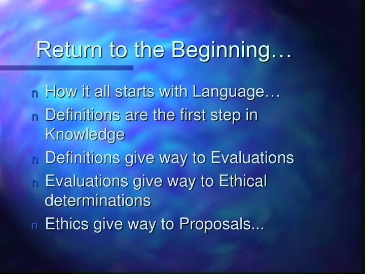 Return to the Beginning…
