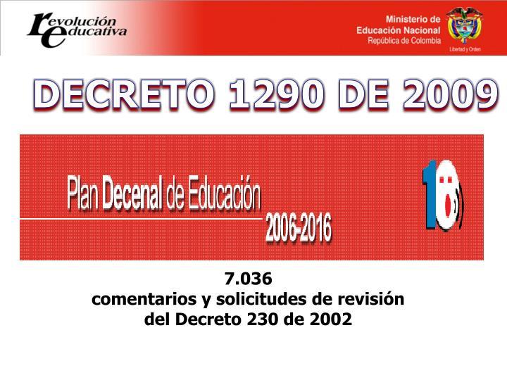 DECRETO 1290 DE 2009