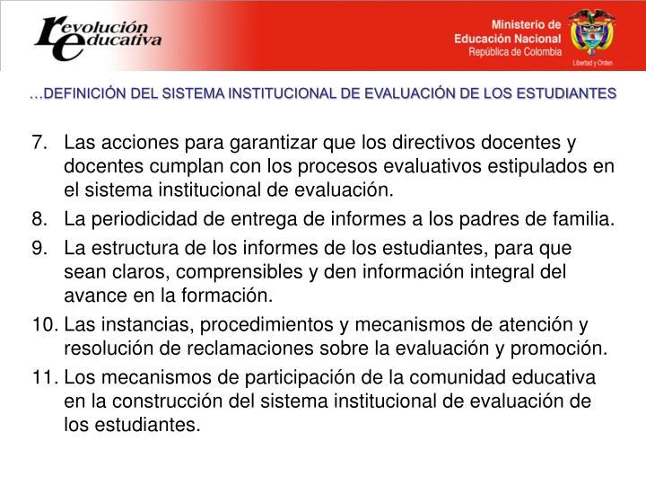 …DEFINICIÓN DEL SISTEMA INSTITUCIONAL DE EVALUACIÓN DE LOS ESTUDIANTES