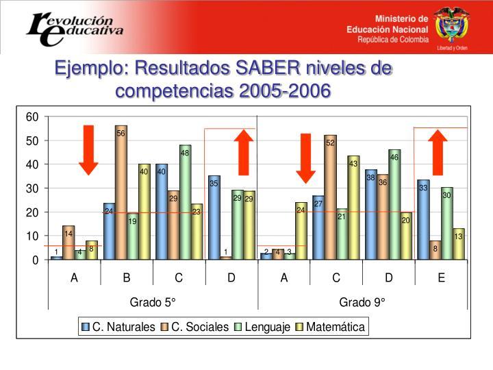 Ejemplo: Resultados SABER niveles de competencias 2005-2006
