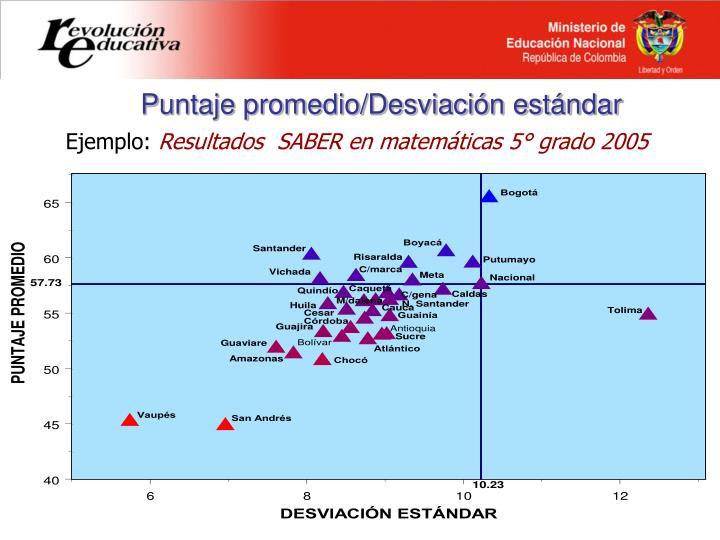 Puntaje promedio/Desviación estándar