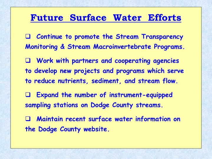 Future  Surface  Water  Efforts