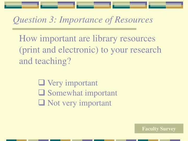 Question 3: Importance of Resources
