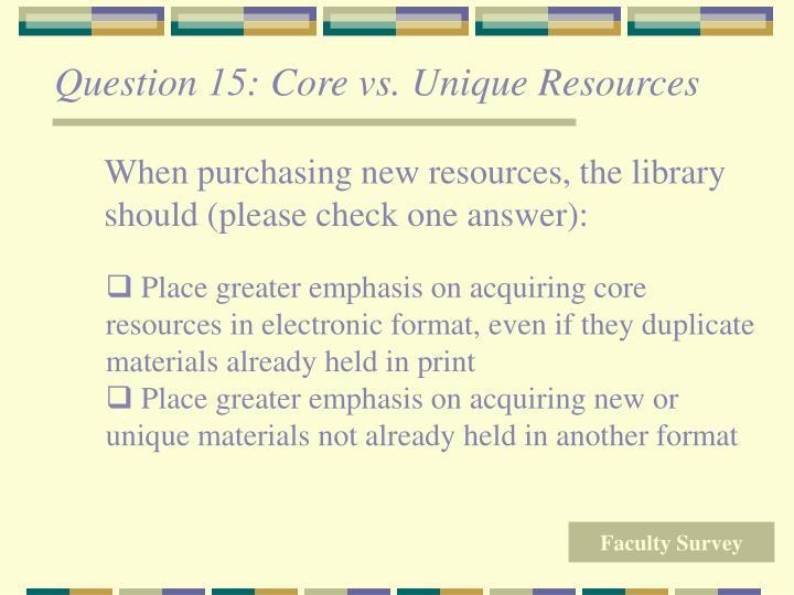 Question 15: Core vs. Unique Resources
