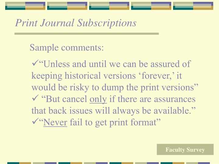 Print Journal Subscriptions